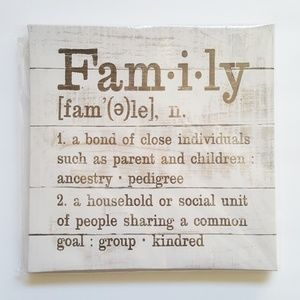 "Meaning of ""Family"" Typed Font Wall Art Home Decor"